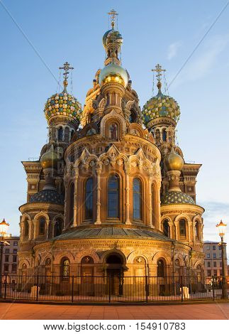 The old Cathedral of Resurrection (Savior on blood), white night. The religious landmark of the city Saint Petersburg