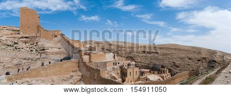 Large Panoramic View Of The Holy Lavra Of Saint Sabbas The Sanctified, Known In Arabic As Mar Saba