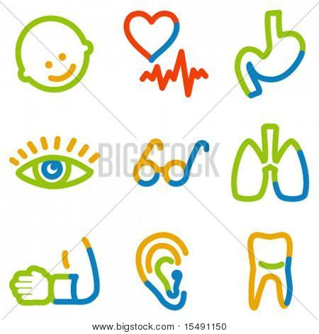 Medicine icons set 2, colour contour series