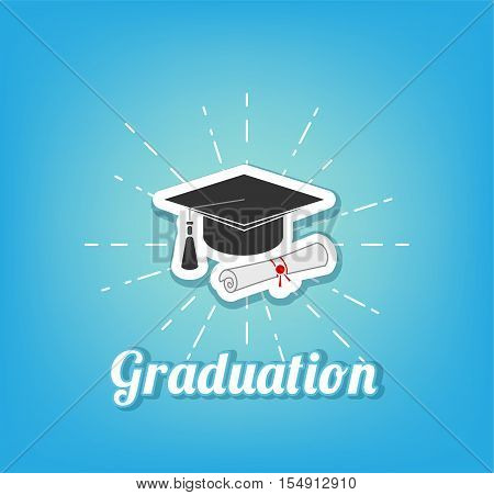 Graduate Cap With Diploma. Graduation Icon. Vector Illustration