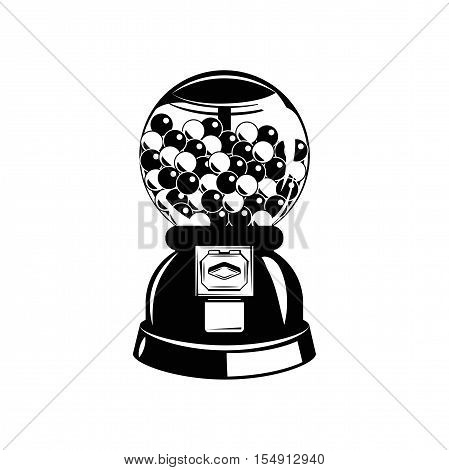 Gumball machine. Black and white. Vector illustration. Isolated On White Background