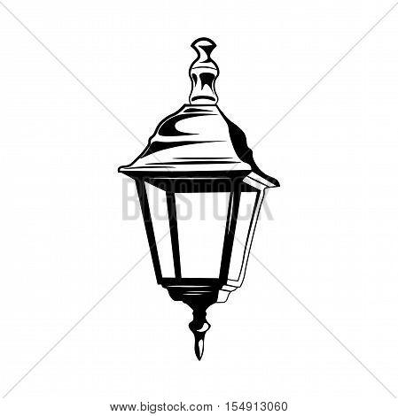 Decorative Vintage Street Lamp Isolated On White Retro Light Vector Illustration