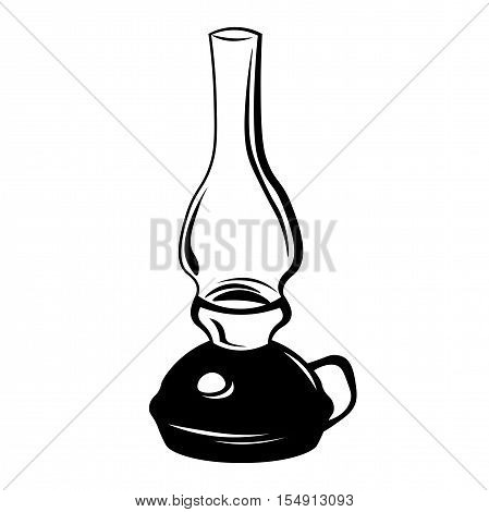 Kerosene lamp. Vintage paraffin lamp. Doodle style. Isolated on white. Vector Illustration poster