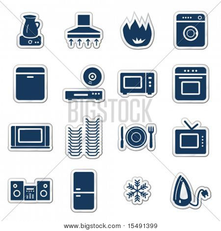 Home appliances web icons, navy sticker series poster