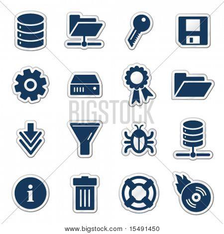 Server web icons, navy sticker series
