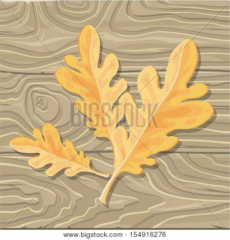 Oak leaf on wooden background. Flat style vector. Fallen orange tree leaf with broken limb.  Autumn defoliation. Season changes in nature. For enviromental concepts, prints, wallpapers, web design