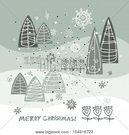 Merry Christmas and Happy New Year greeting card. Holidays vector illustration. Winter abstract stylized trees Christmas trees.