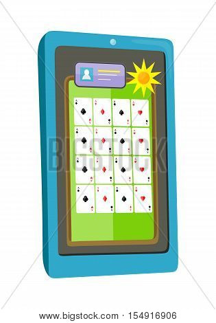 Online casino on screen of tablet computer. Online gambling games of fortune entertainment casino. Tablet games icon. Mobile game app. Online poker. Vector illustration in flat style.