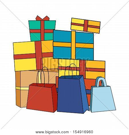Big pile of colorful wrapped gift boxes. Mountain gifts near shopping bags. Beautiful present box with overwhelming bow. Gift box icon. Gift symbol. Christmas gift box. Isolated vector illustration
