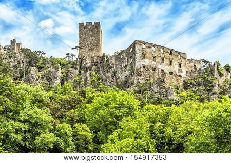 Ruins of Rauhenstein castle in the district of Baden near Vienna (Baden bei Wien) . It was built in the 12th century by the knights of Tursen. It was always inhabited of robber barons and destroyed frequently and rebuilt.