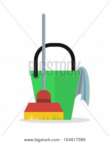 Cleaning service web banner. Bucket with duster and broom icon. Sign symbols of clean in the house. House washing equipment. Office and hotel cleaning. Housekeeping. Cleaning business concept. Vector