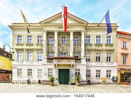 City Hall (rathaus) On Hauptplatz In Baden Bei Wien, Austria.
