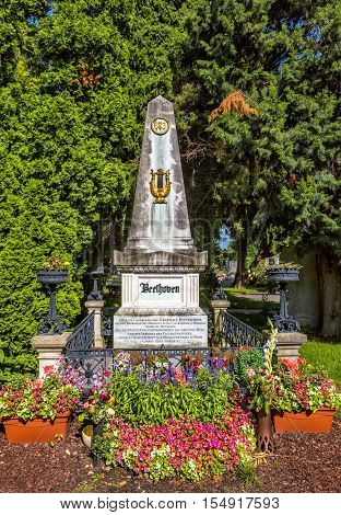 Grave Of Composer Ludwig Van Beethoven In Cemetery In Vienna