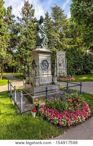 Grave Of Composer Wolfgang Amadeus Mozart  In Cemetery In Vienna
