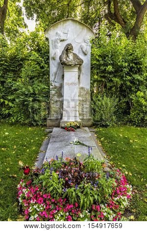 Grave Of Composer Johannes Brahms In Cemetery In Vienna