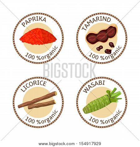 Set of herbs labels. 100 organic. Spice collection. Vector illustration. Paprika, tamarind, licorice wasabi Brown stamps