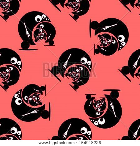 Seamless pattern with funny cute monsters. Vector illustration