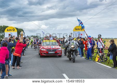 Ardevon France - July 2 2016: Christian Prudhomme the general director launching the Tour de France at Km 0 in ArdevonFrance on July 22016.
