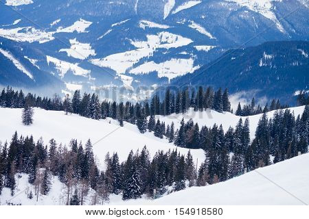 Mountain ski areal and resort in Austria nature and sport background