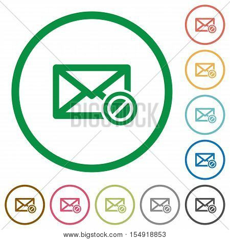 Blocked mail flat color icons in round outlines