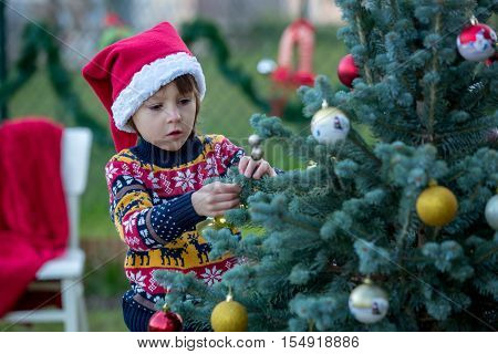 Cute Little Boy, Decorating Christmas Tree, Outdoor