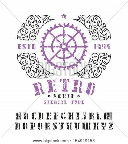 Stock vector set of serif stencil-plate font and decorative frame. Bold typeface with shabby texture