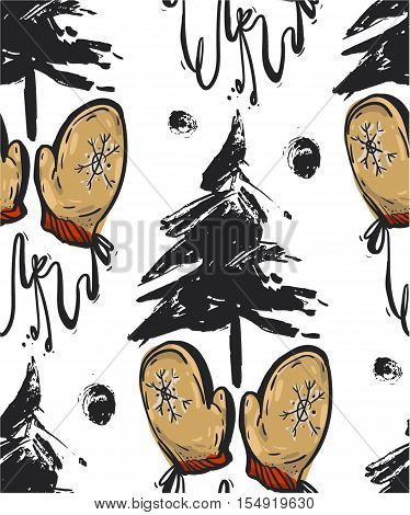 Hand drawn vector abstract seamless Christmas pattern with dirty brush painted Christmas trees and Christmas warmth mittens isolated on white background.Christmas decoration ornaments.