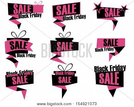 Black Friday Set Of Discount And Promotion Banners. Sale Banner Tag. Advertising Element. Callouts B