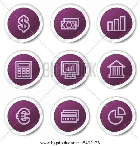 Finance web icons set 1, purple stickers series
