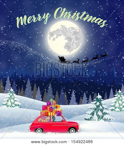 Christmas landscape card design of retro car with giftbox on the top. background with moon and the silhouette of Santa Claus flying on a sleigh. concept for greeting or postal card,