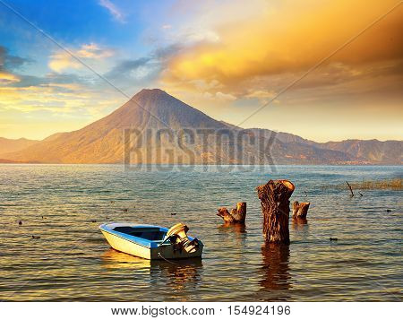 Beatiful sunset at the lake Atitlan near the volcano. Guatemala