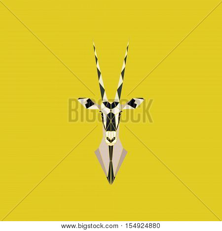African Safari Oryx Gazella or Gemsbok Antelope head. Geometric style. Vector illustration.