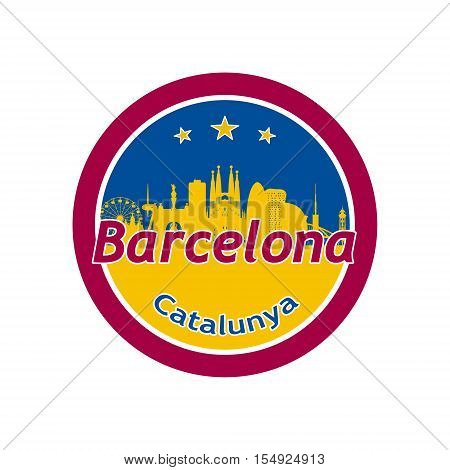 Barcelona Spain city skyline silhouette in round icon.