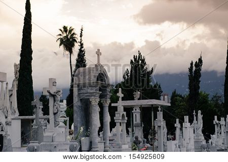 White Tombs In Graveyard