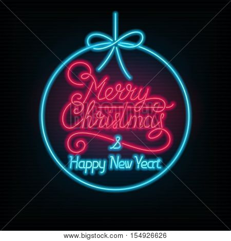 Merry Christmas and Happy New Year lettering. Vector neon sign. Xmas card.