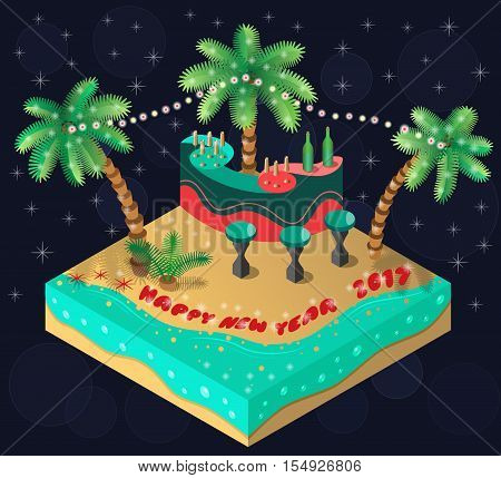 New Year 2017 on a tropical island. Bar,palm trees, beach and sea. 3D isometric view. Vector illustration.