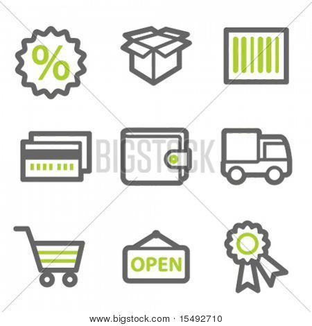 Shopping web icons set 2, green and gray contour series