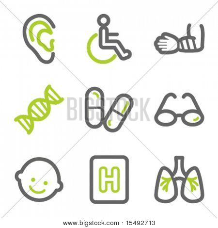 Medicine web icons set 2, green and gray contour series