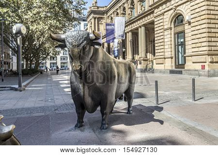 The Bull And Bear Statues At The Frankfurt Stock Exchange In Frankfurt, Germany. Frankfurt Exchange