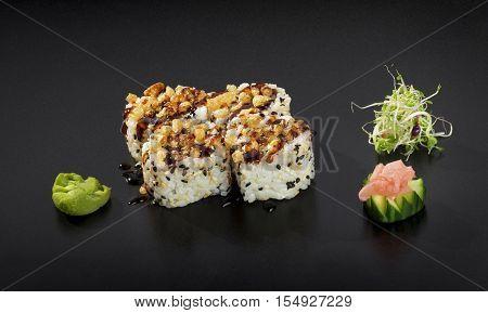 Fresh Sushi set. Uramaki maki sushi rolls
