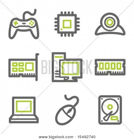 Computer web icons, green and gray contour series