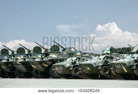 KHARKIV REG. UKRAINE - Oct 15 2015: Weaponry and military equipment of the armed forces of Ukraine before being sent to the war zone in eastern Ukraine