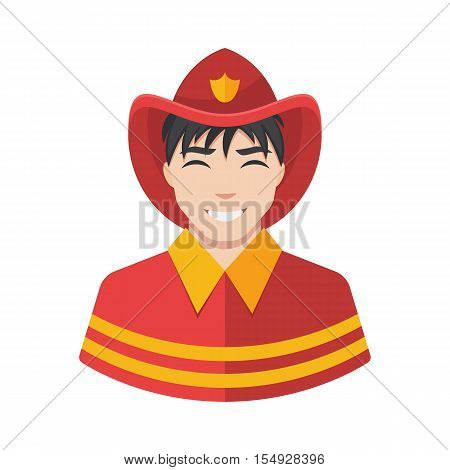 Fireman vector icon. Illustration of fireman icon in uniform.