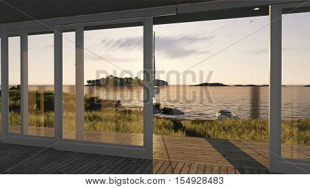Interior with glass doors and sea landscape, 3d illustration