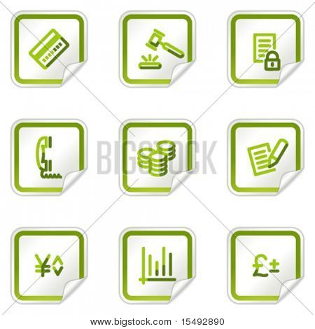 E-business web icons, green stickers series