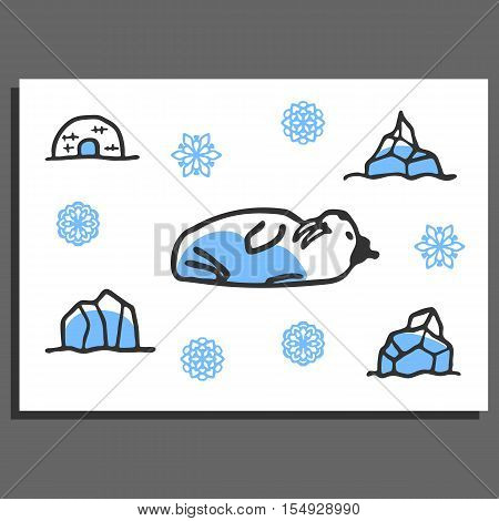 Greeting card template with cute doodle walrus, igloo, snowflakes and icebergs. Cartoon vector illustration isolated on white