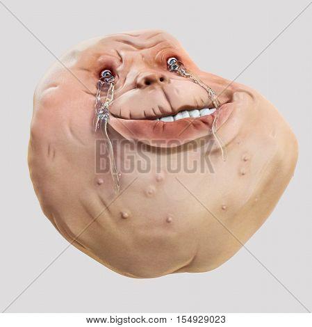 Forever Alone Rage Face Guy. Internet meme 3d illustration