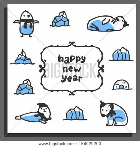 Happy new year greeting card with cute cartoon arctic animals. Vector doodle walrus, polar bear, seal, pinguin