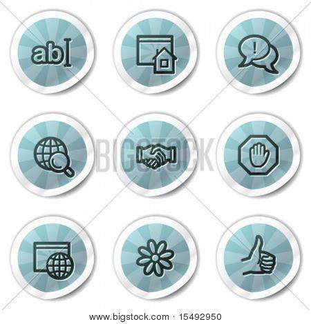 Internet web icons set 1, blue shine stickers series