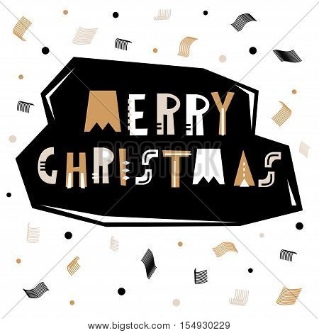 Merry and Bright greeting background. Holiday winter template with abstract geometric confetti. Vector Illustration